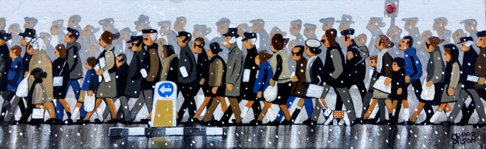 Christmas Shoppers Belfast. Original Artwork