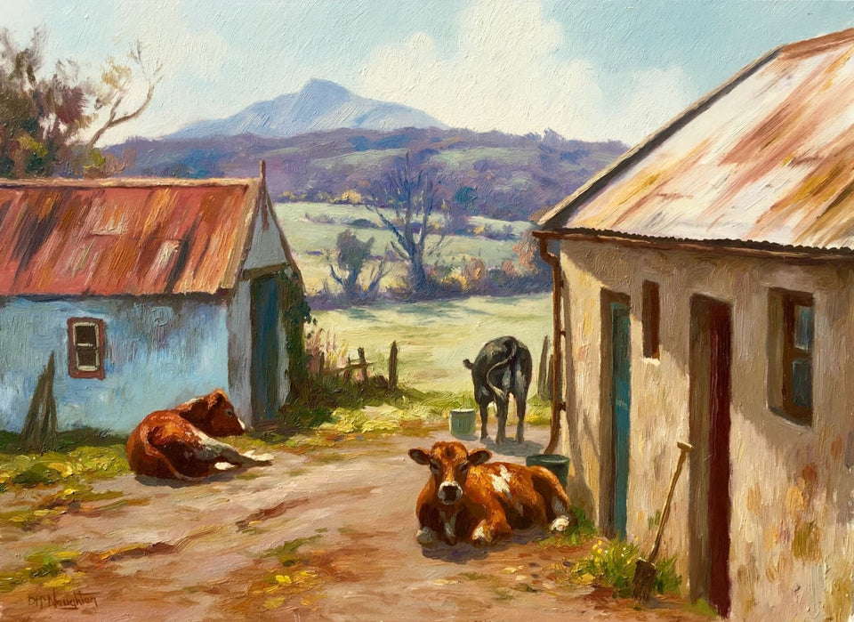 Cows In The Farmyard by Donal McNaughton - Original Artwork