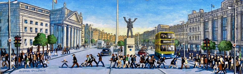 Crossing Oconnell Street Dublin. Original Artwork