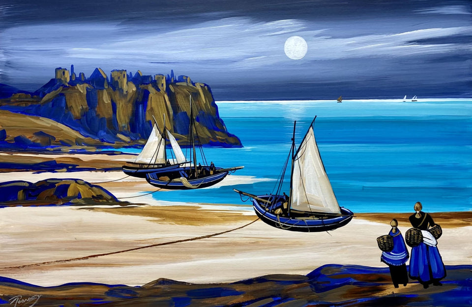 Dunluce Moonlight Portrush Co.antrim Original Artwork