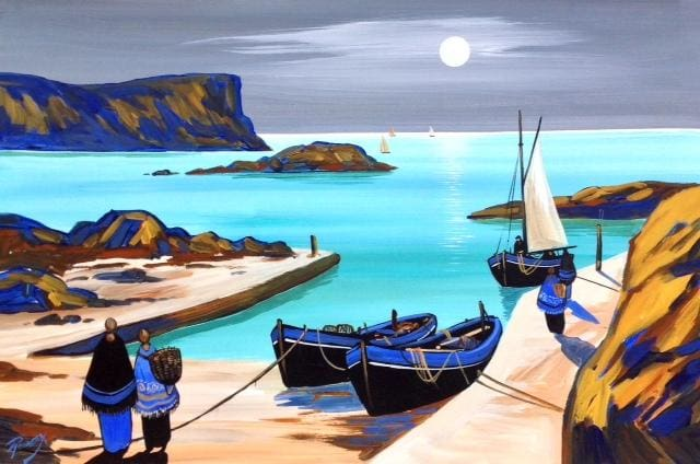 Dunseverick Harbour By Moonlight Original Artwork