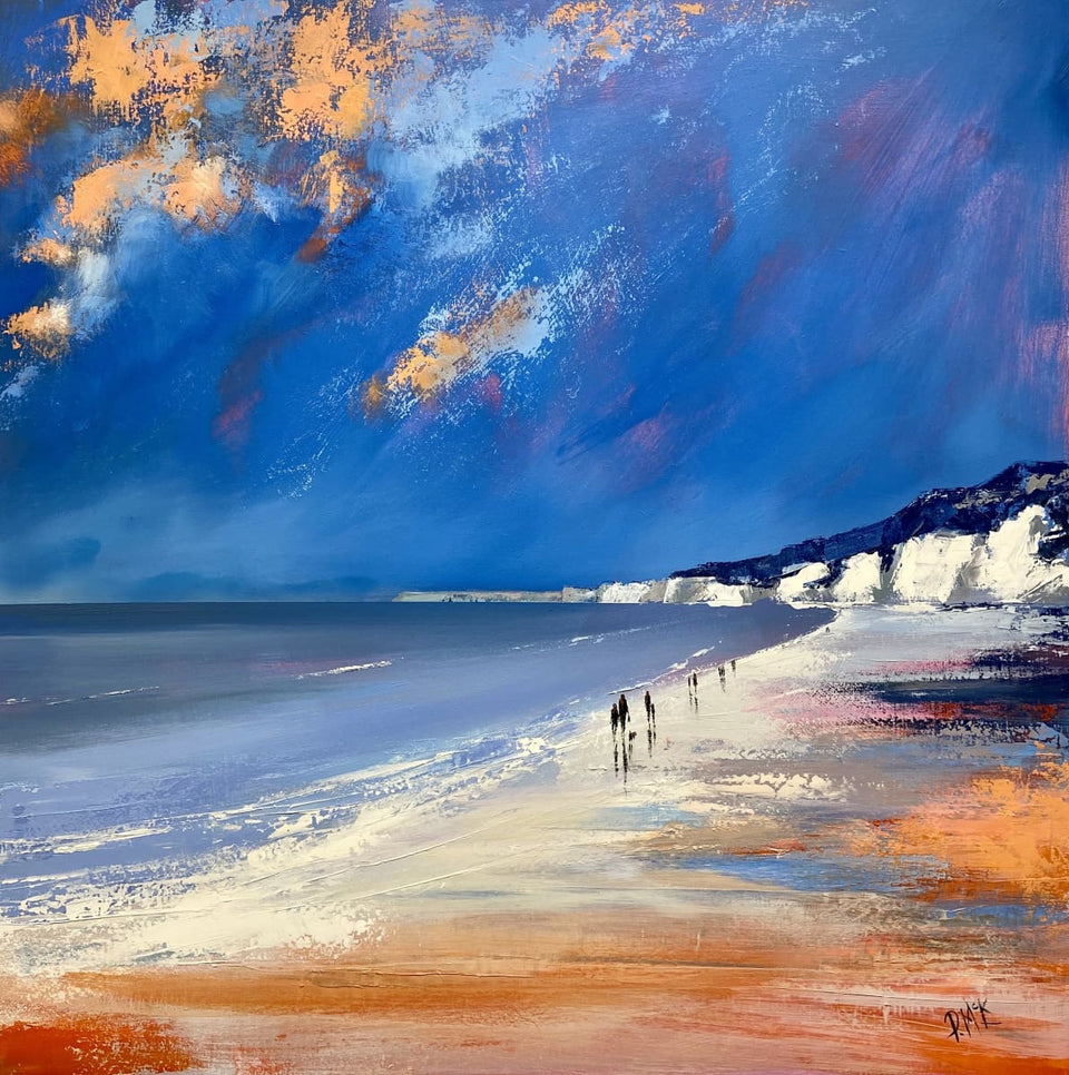 Early Evening Beach Stroll White Rocks Portrush Co.antrim Original Artwork