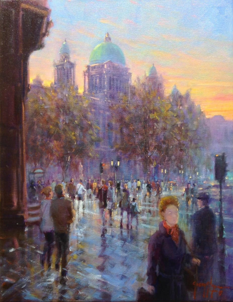 Early Twilight Donegal Square Belfast Original Artwork