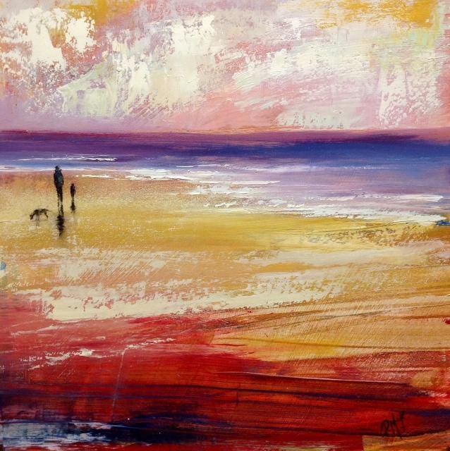 Evening Beach Walk Original Artwork