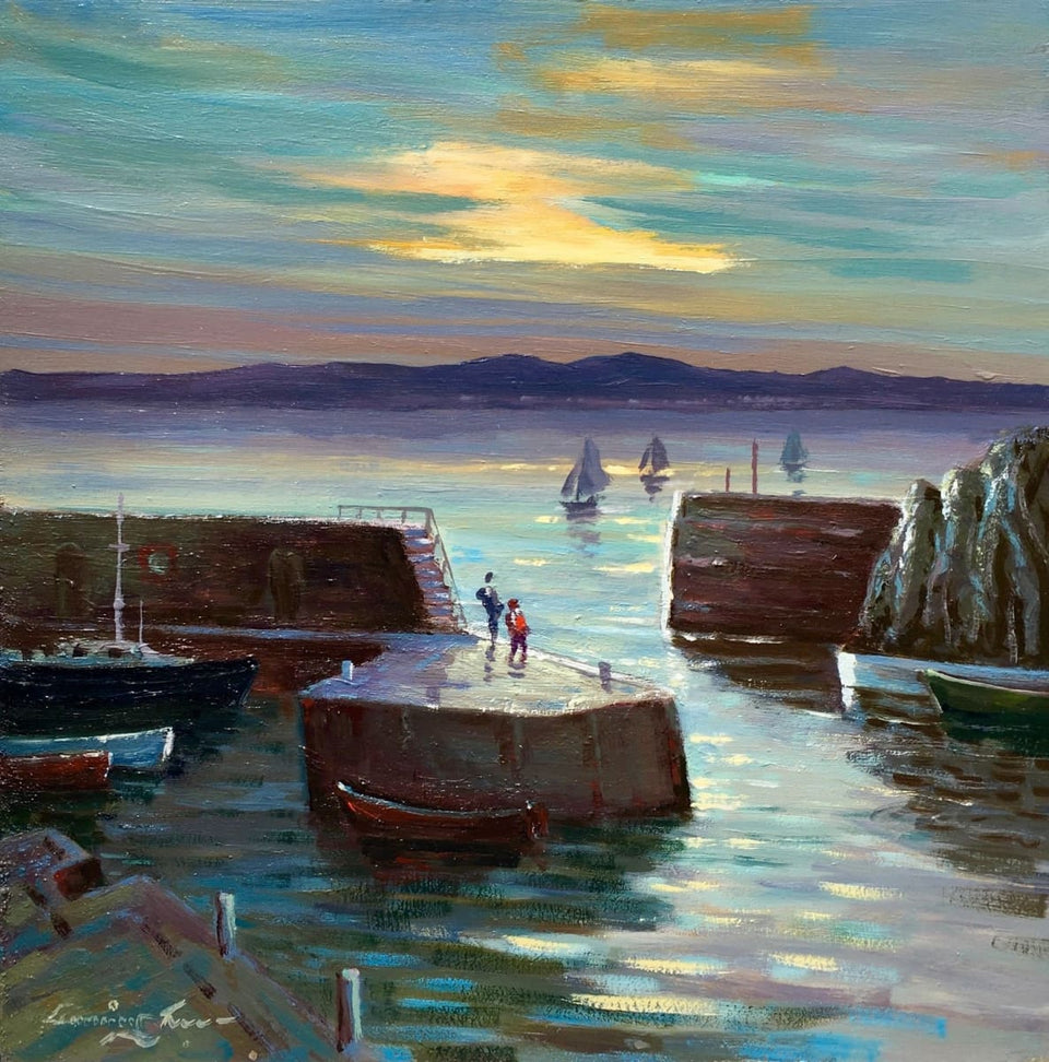 Evening Sunset Portstewart Harbour Original Artwork