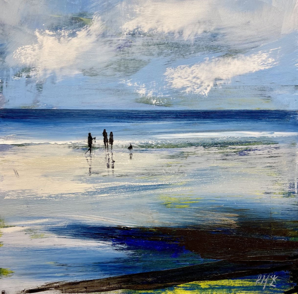 Family Beach Stroll Original Artwork