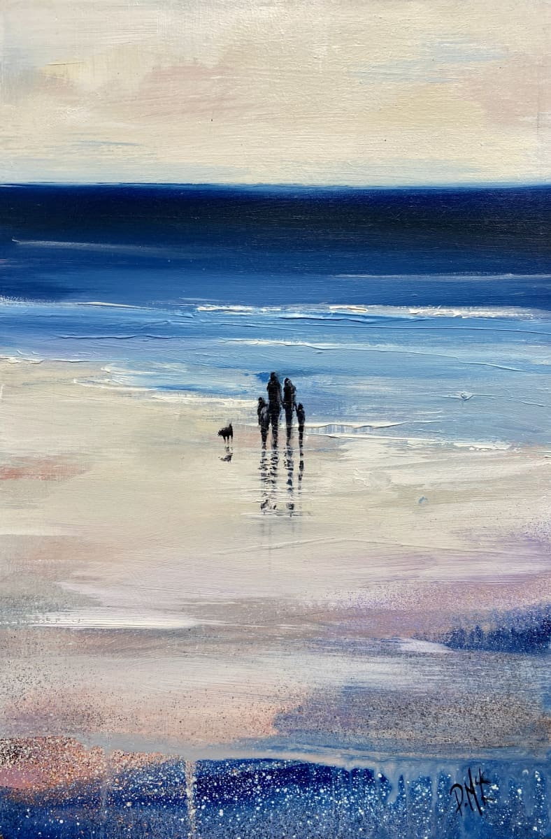 Family Stroll By The Shoreline Original Artwork