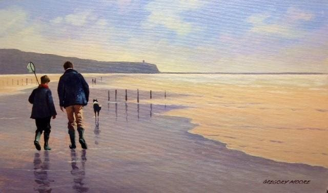 Father & Son Going Fishing Portstewart 12 X 20 / 30 50 Oil Original Artwork