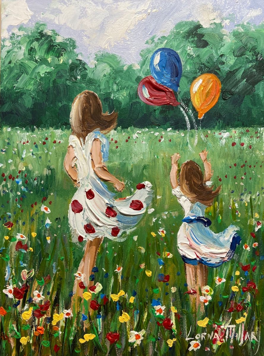 Flying Balloons In The Summer Meadow Original Artwork