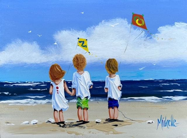 Flying Kites At The Beach 12 X 16 / 30 40 Oil Original Artwork