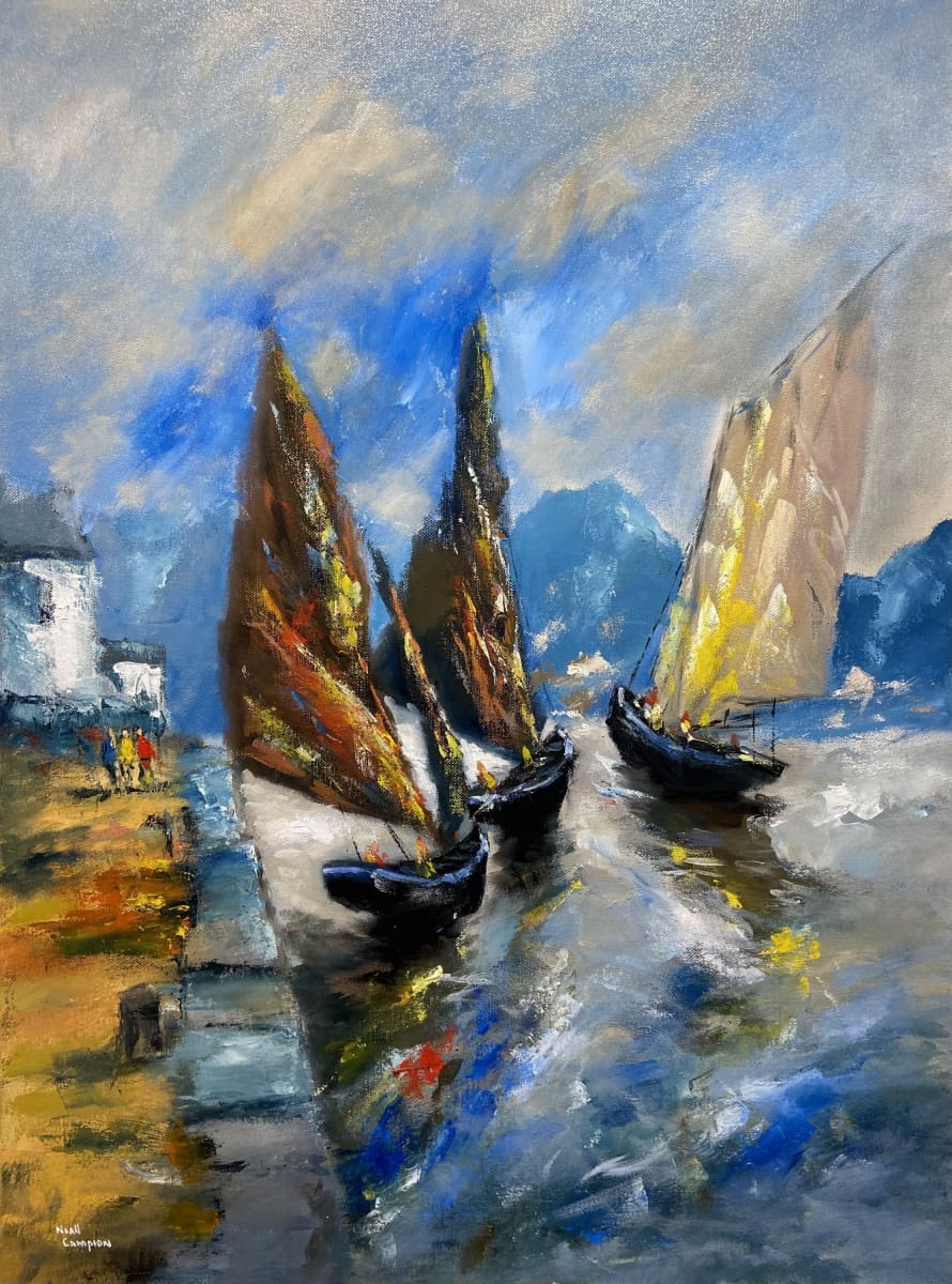 Galway Hookers At Cleggan Connemara. Original Artwork