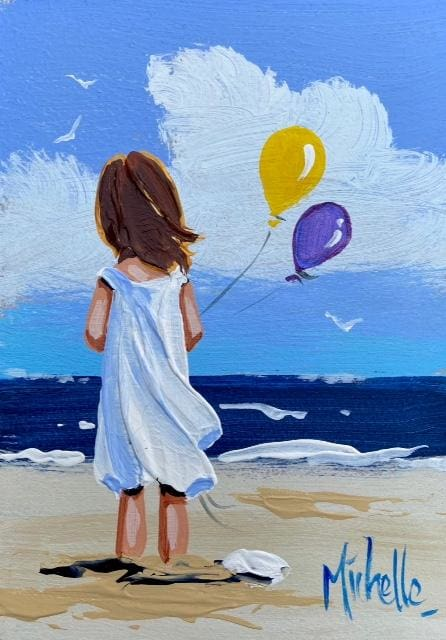 Girl With Balloons 7 X 5 / 17.5 12.5 Oil Original Artwork