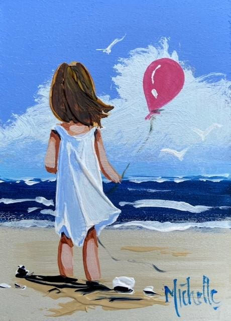 Girl With Pink Balloon 7 X 5 / 17.5 12.5 Oil Original Artwork