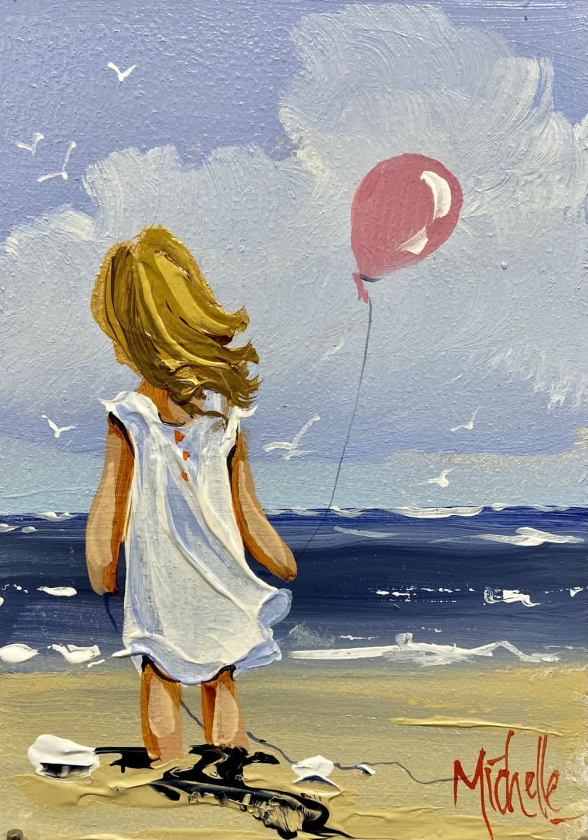 Girl With Pink Balloon Original Artwork