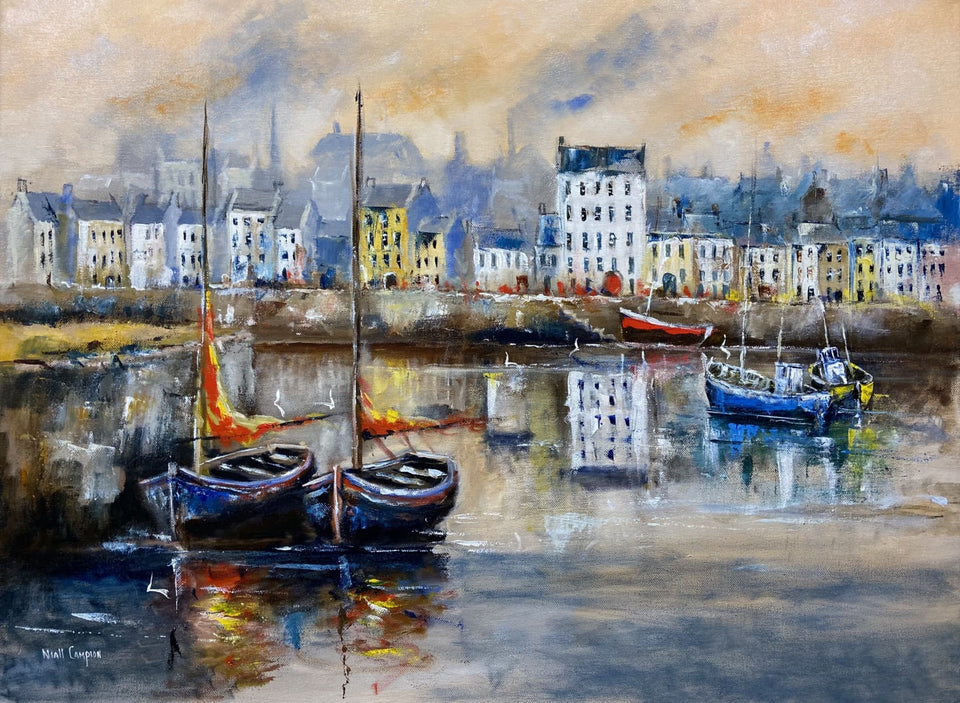 Harboured Boats Claddagh Galway. Original Artwork