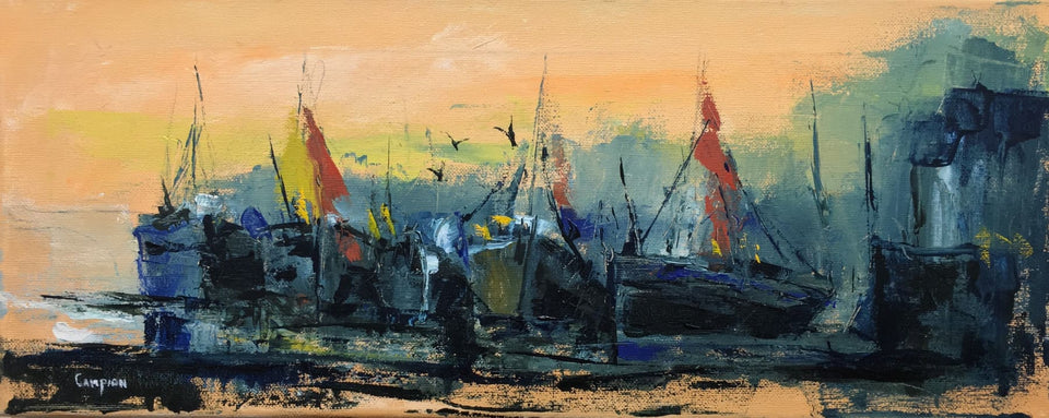 Harboured Boats Original Artwork