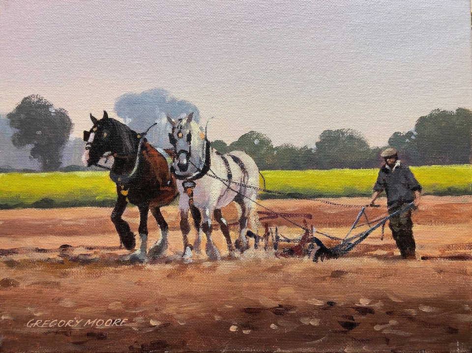 Horse Ploughing Original Artwork
