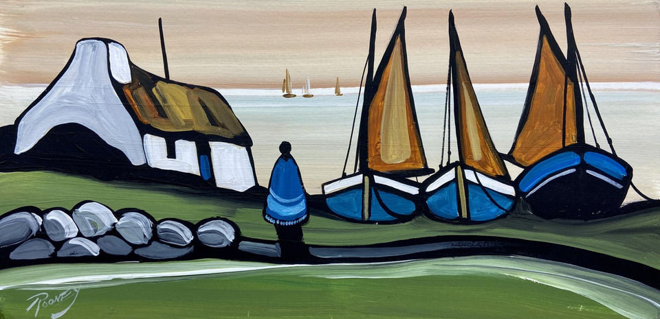 Irish Boats In The Sunset Original Artwork