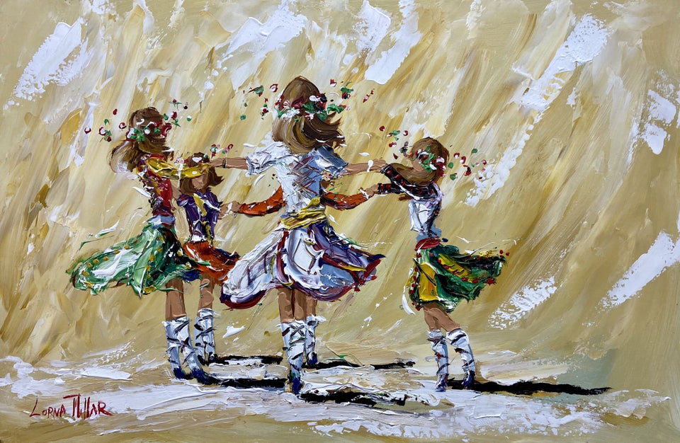 Irish Team Dancing Original Artwork