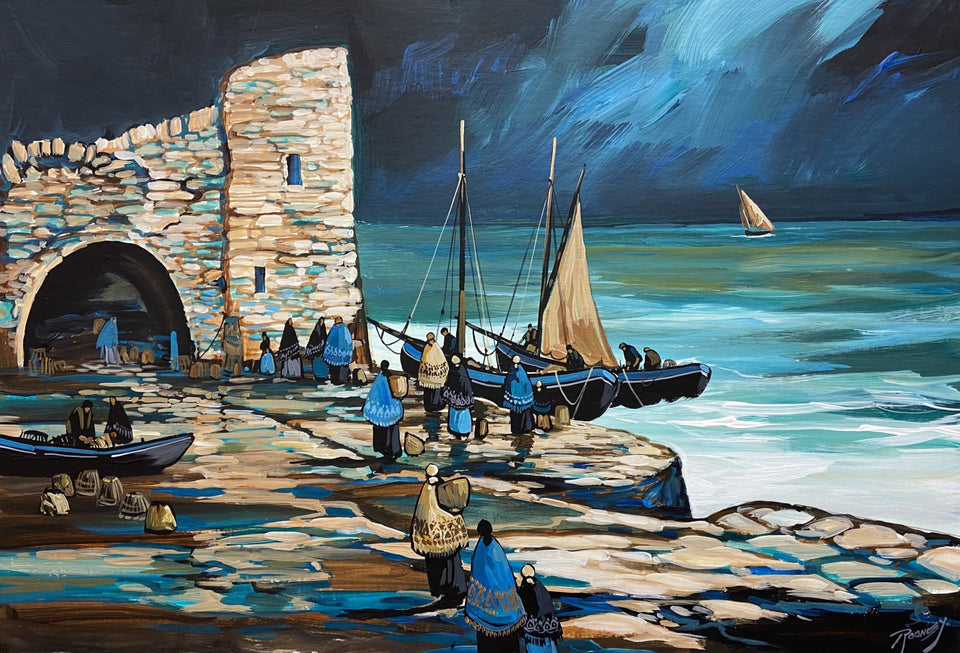 Landing The Catch By Spanish Arch Galway. Original Artwork