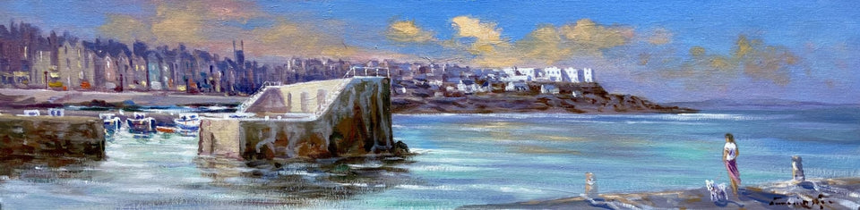 Looking Out To Sea Portstewart Harbour Original Artwork