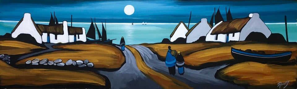 Irish Art - Moon Washed Abodes - Original Artwork by Irish Artist J.P.Rooney