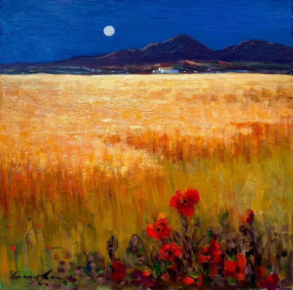 Moonlit Harvest Time Mournes Co.down Original Artwork