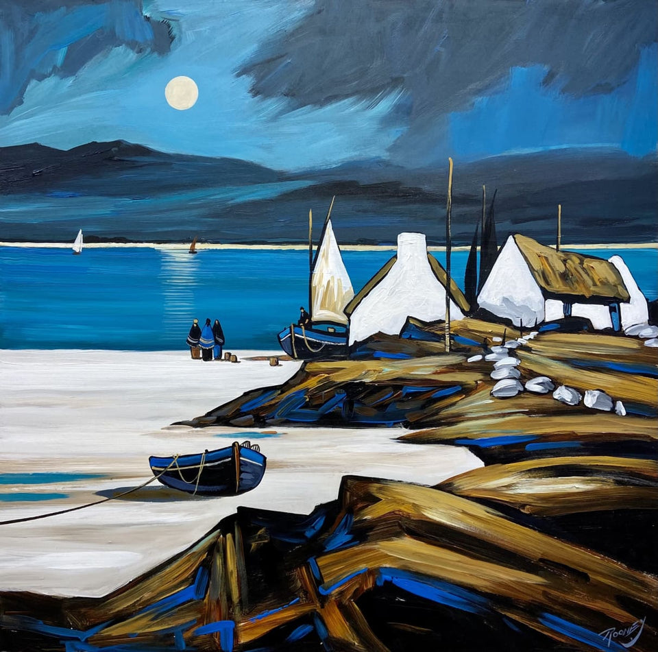 Moonrise On Emerald Bay Original Artwork