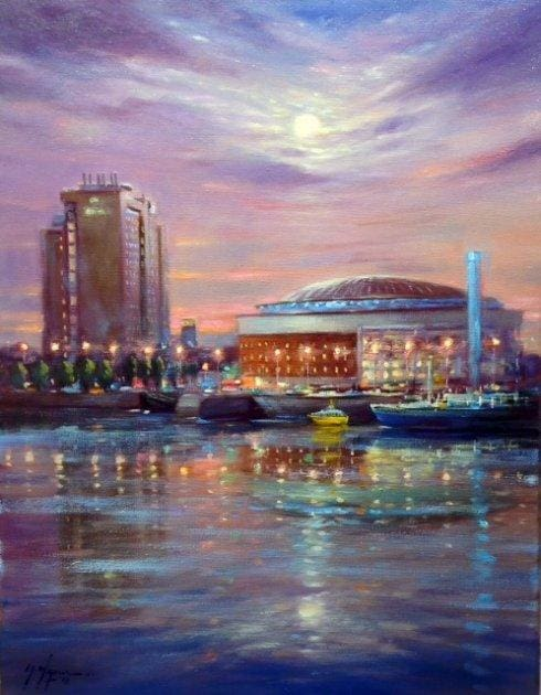 Night Lights Waterfront Hall Belfast 18 X 14 / 45 35 Oil Original Artwork