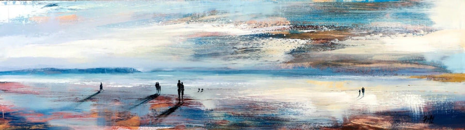 On A Donegal Beach At Dusk. Original Artwork