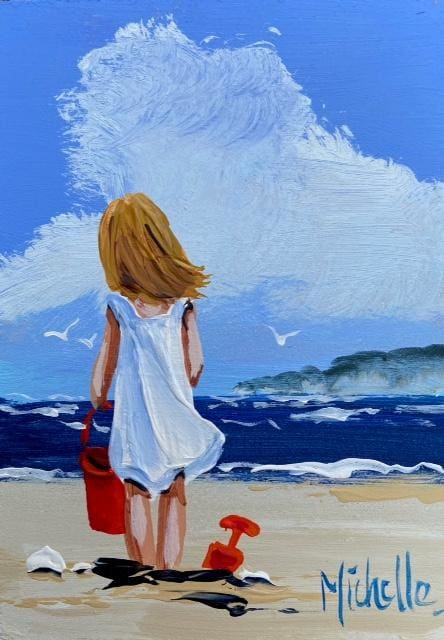 On The Beach At White Rocks 7 X 5 / 17.5 12.5 Oil Original Artwork