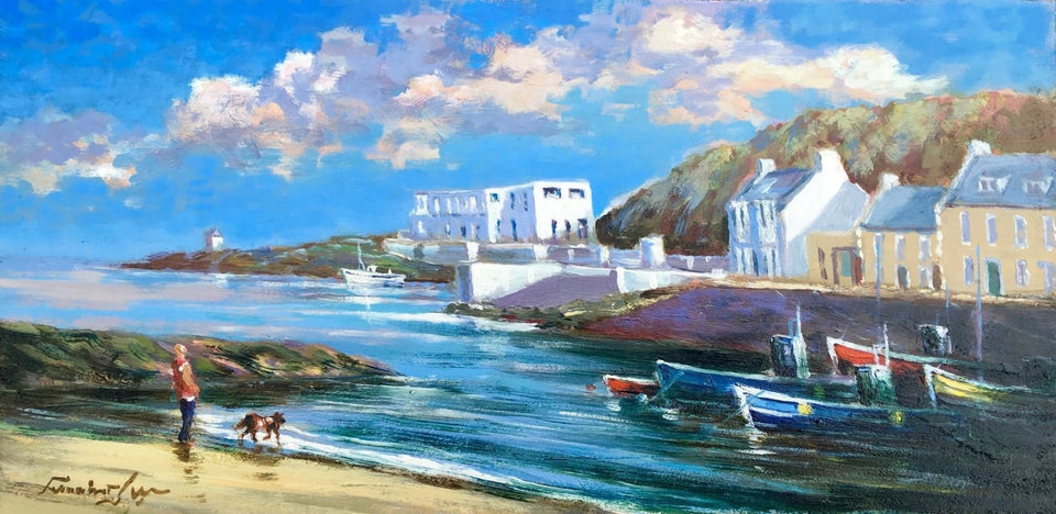 Out With The Dog Cushendun Harbour Co.antrim Original Artwork