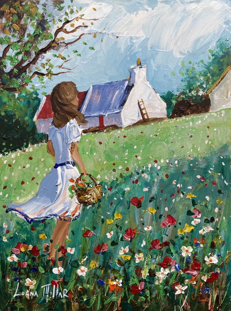 Picking The Summer Flowers Original Artwork