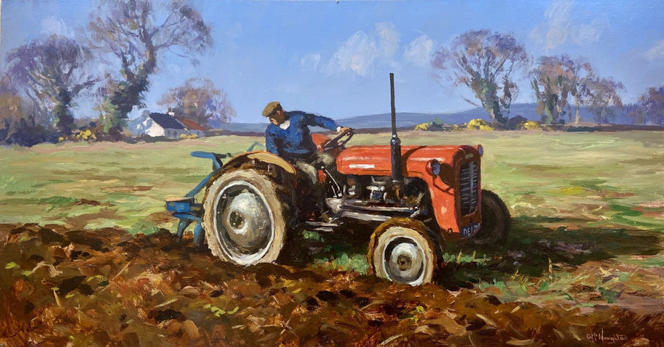 Ploughing With The Wee Massey. Original Artwork