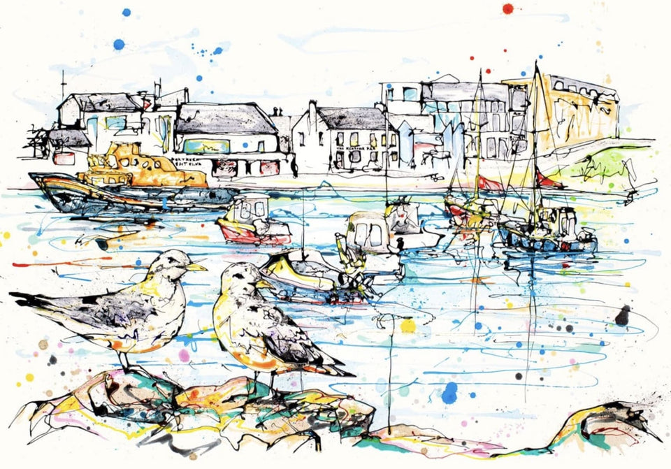 Portrush Harbour Signed Limited Edition Textured Print