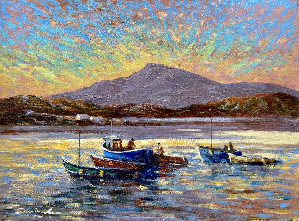 Preparing The Fishing Boats Connemara Original Artwork