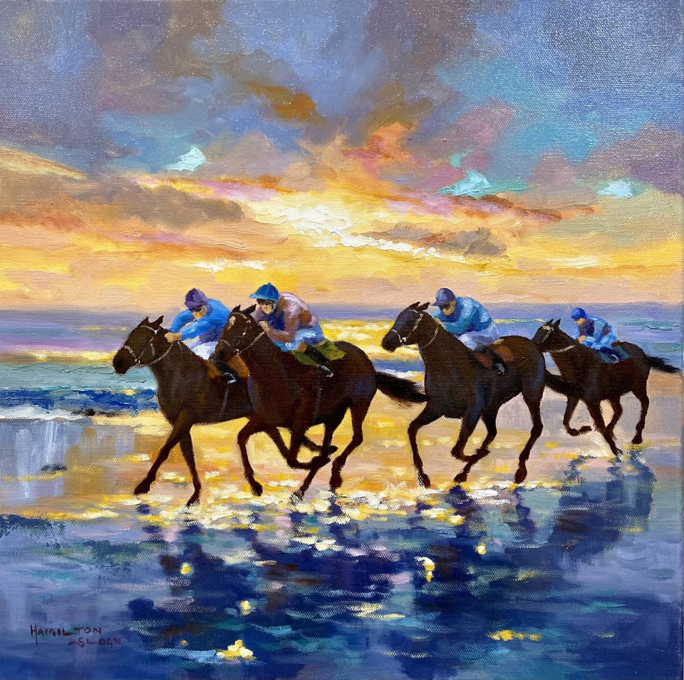 Racing By Sunset Laytown Co.meath Original Artwork