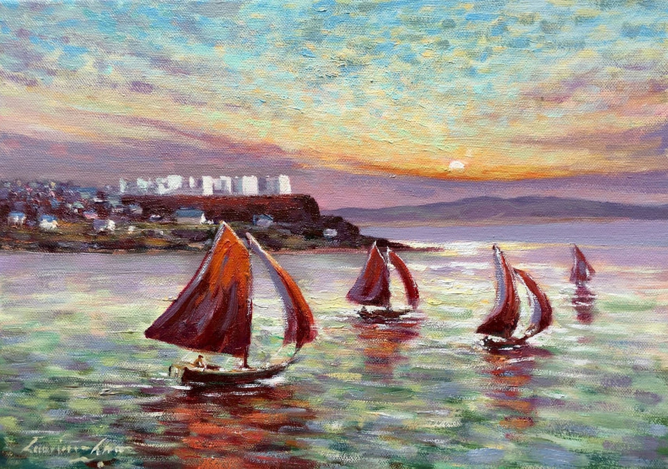Red Sails In The Sunset Portstewart 10 X 14 / 25 35 Oil Original Artwork