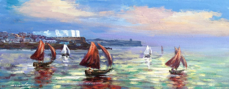 Red Sails In The Sunset Portstewart Original Artwork