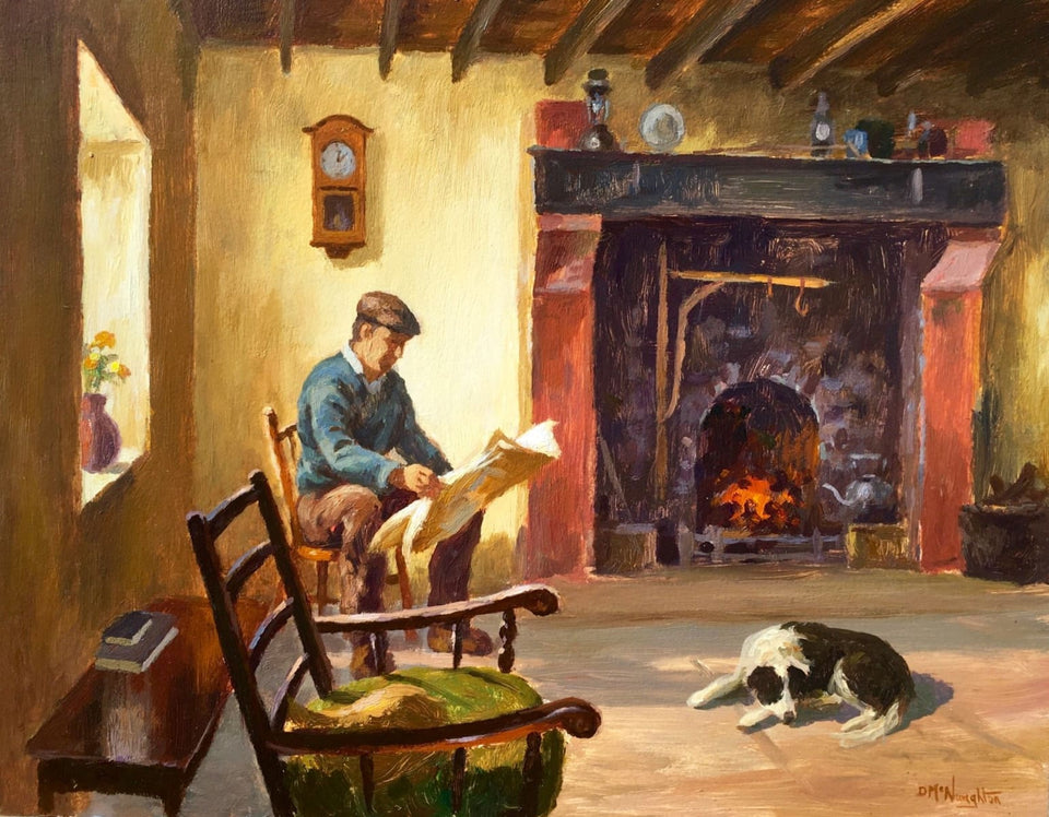 Relaxing By The Open Fire by Donal McNaughton - Original Artwork
