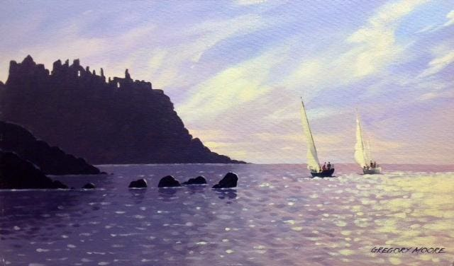 Sailing Neath Dunluce Castle Co.antrim 12 X 20 / Oil Original Artwork
