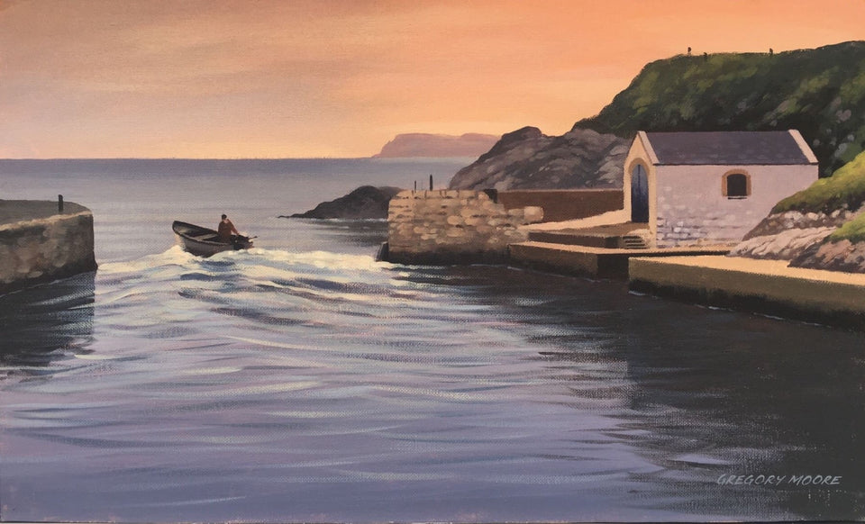 Sailing Out From Ballintoy Harbour Original Artwork
