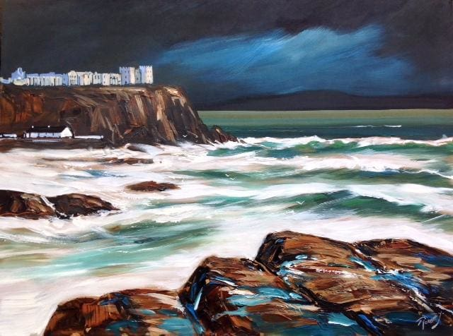 Sea Drama Near The Convent Castle Portstewart 18 X 24 / 45 61 Oil Original Artwork