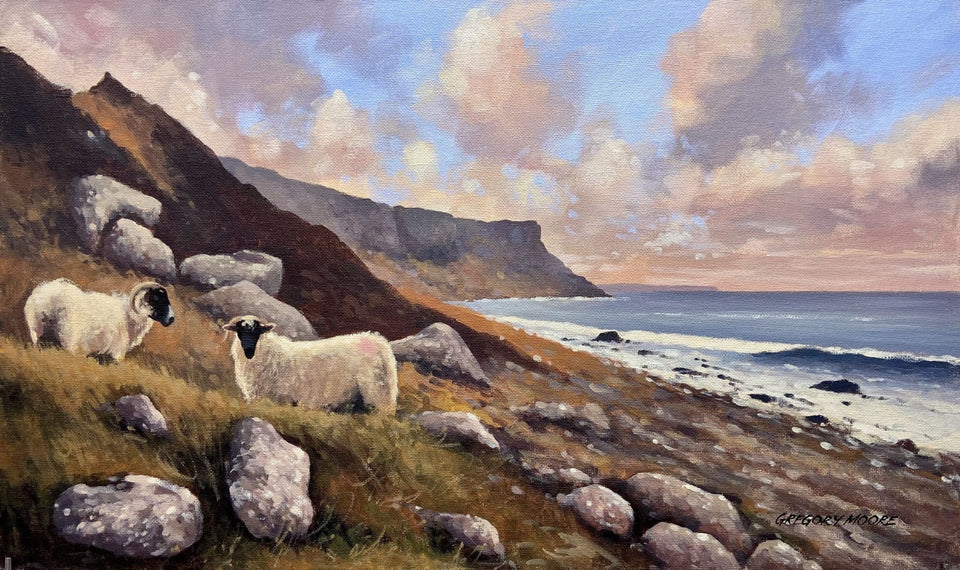 Sheep By Murlough Bay Co.antrim In Autumn Original Artwork