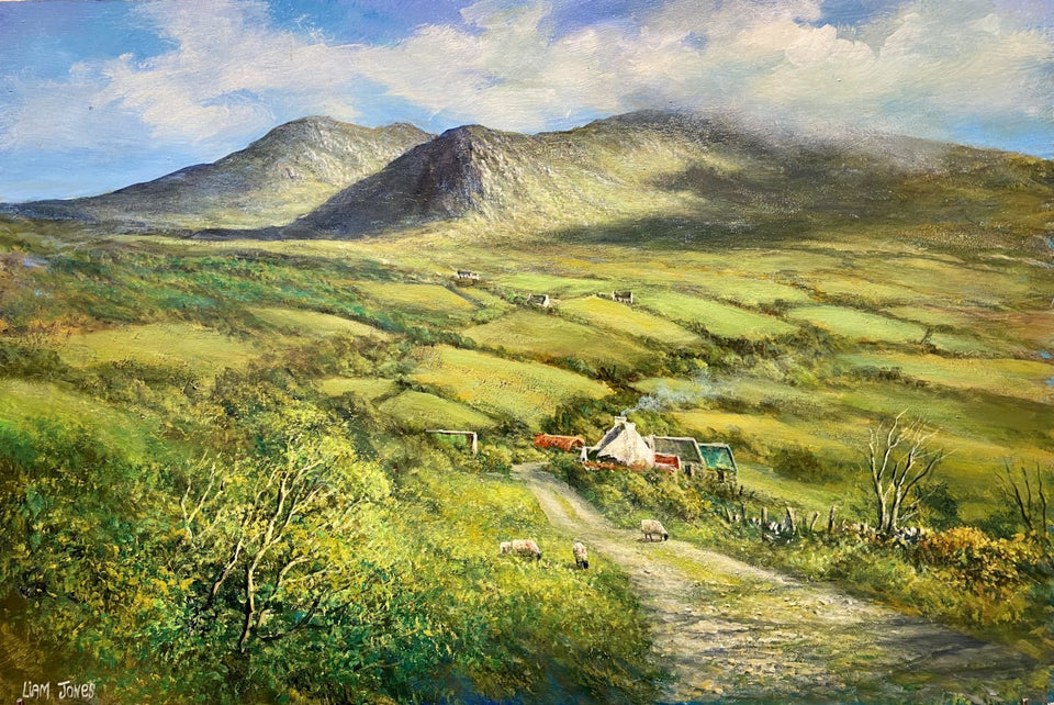 Sheep In The Laneway Mourne Mountains Co.down Original Artwork