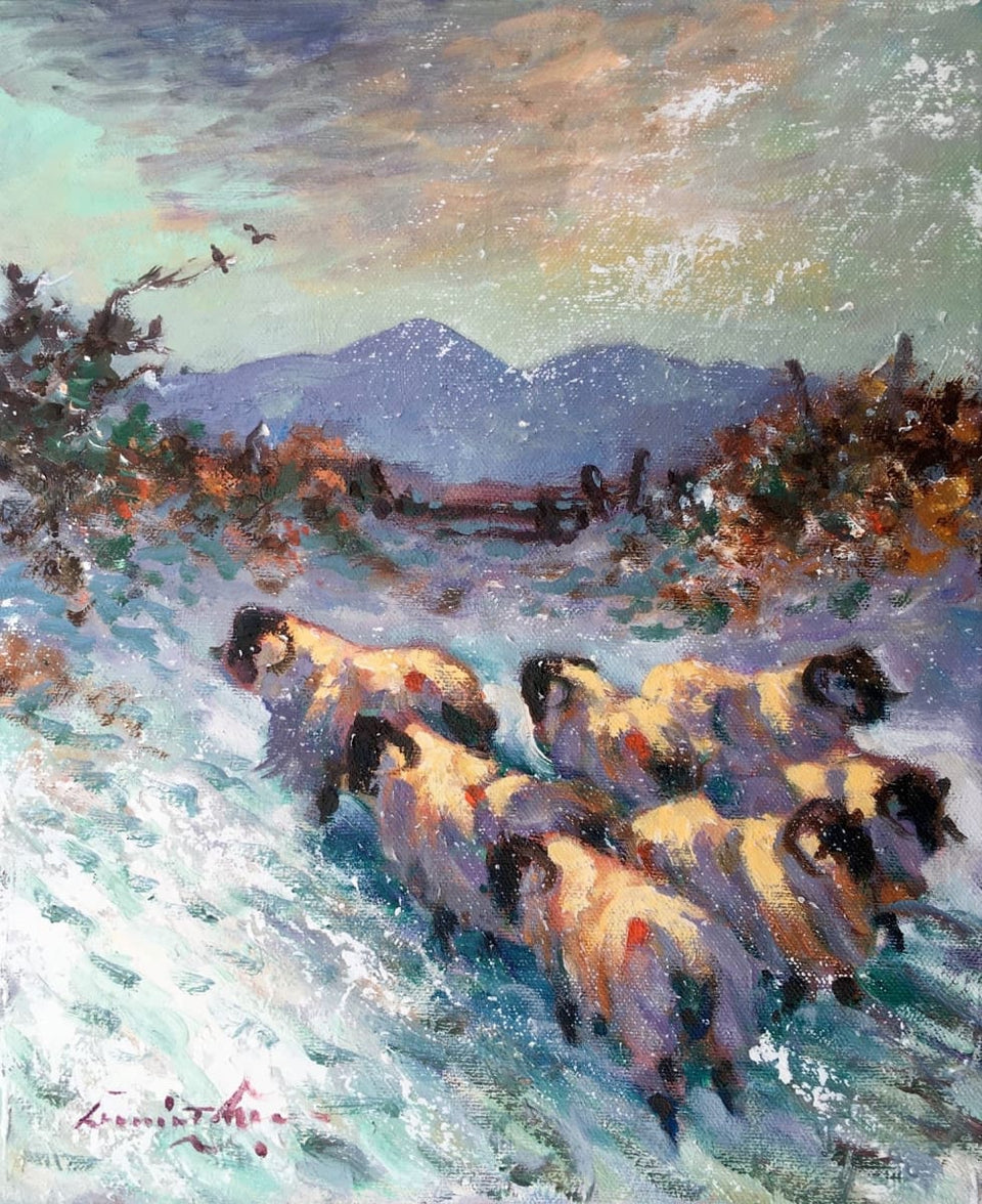 Sheep In Winter Near The Mournes. Original Artwork