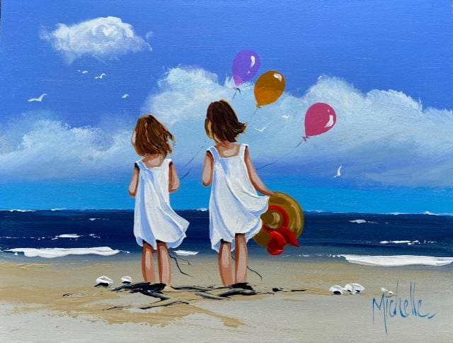 Sisters With Balloons 12 X 16 / 30 40 Oil Original Artwork