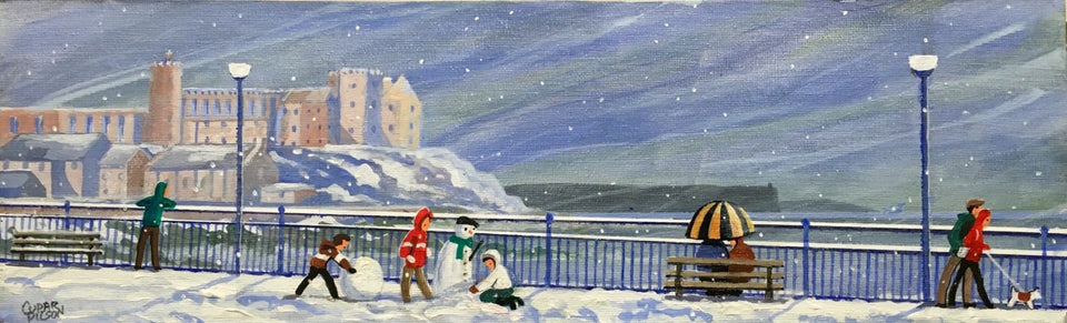 Snowfall On Portstewart Promenade Original Artwork