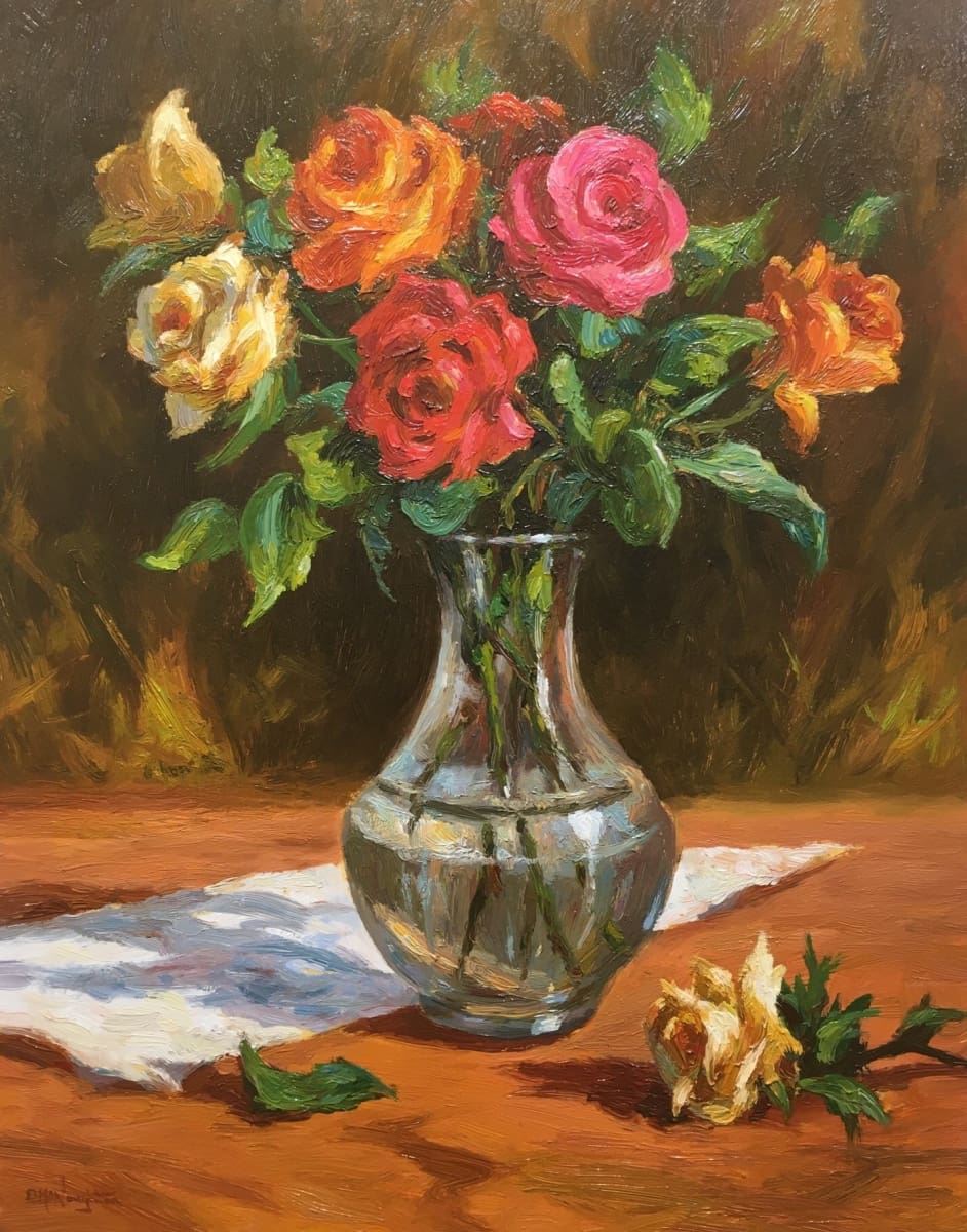 Stilife - Roses In A Glass Vase by Donal McNaughton - Original Artwork