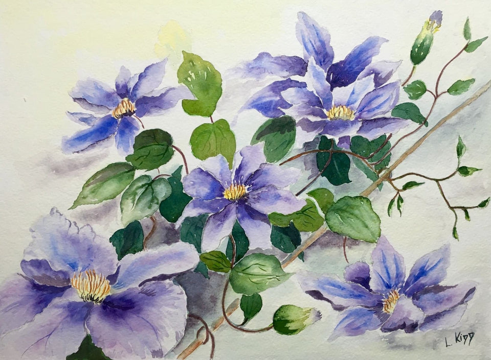 Still Life - Blue Clematis Original Artwork
